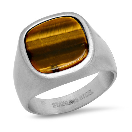 Stainless Steel + Tiger's Eye Ring // Silver + Brown (Size 9)