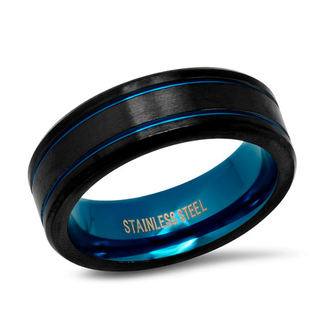 Two-Tone Stainless Steel Band Ring // Brushed // Black + Blue (Size 9)