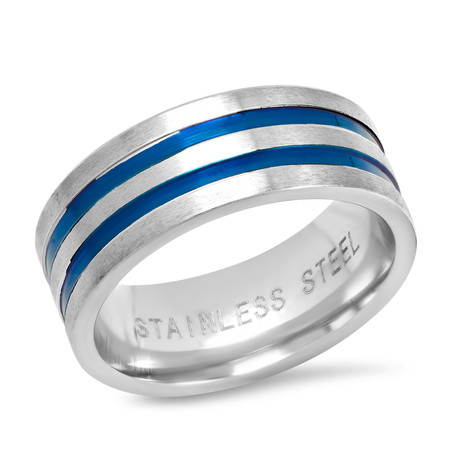 Two-Tone Stainless Steel Band Ring // Silver + Blue (Size 9)