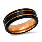 Two-Tone Stainless Steel Band Ring // Black + Rose Gold (Size 9)