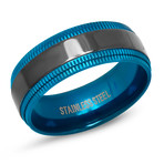 Two-Tone Stainless Steel Band Ring // Blue + Black (Size 9)