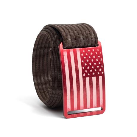 USA Red Flag Belt // Mocha (28)