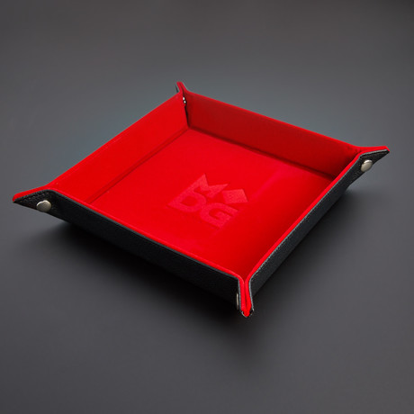 Velvet Folding Dice Tray + Leather Backing (Red)