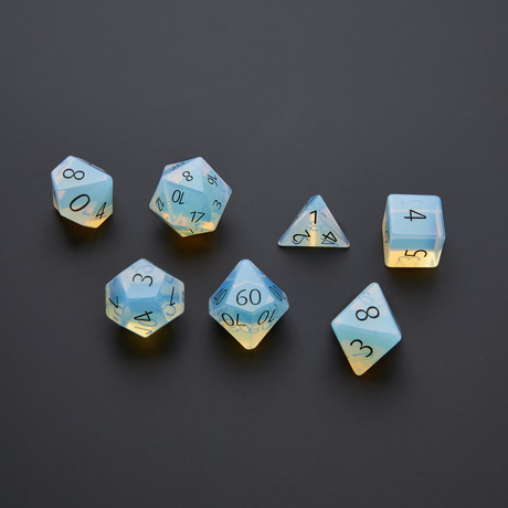 Gemstone Dice Set (Engraved Opalite)