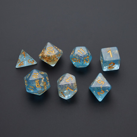 Resin Polyhedral Dice Set // Gold Foil // 16mm (Blue + Gold Foil)
