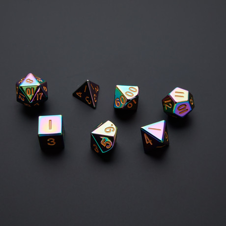 Metal Playing Dice Set // 16mm (Torched Rainbow)