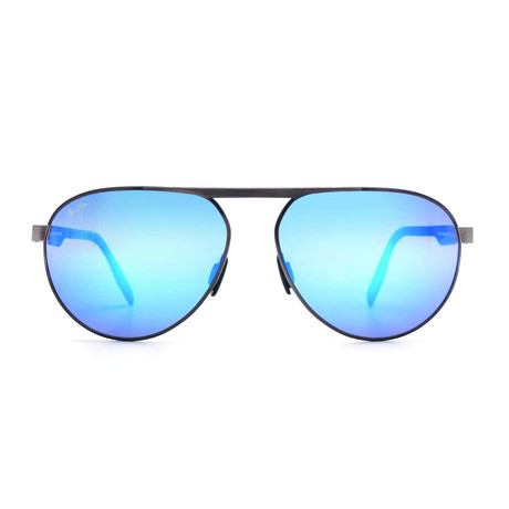 Maui Jim // Men's Swinging Bridges Polarized Aviator Sunglasses // Brushed Dark Gunmetal + Blue Mirror