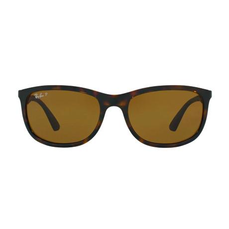 Ray-Ban // Men's Polarized Wrap Sunglasses // Tortoise + Brown