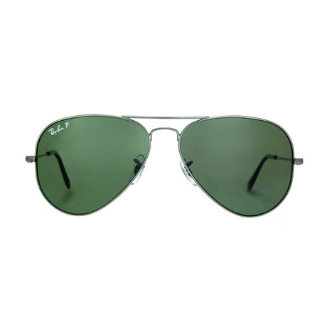 Ray-Ban // Men's Polarized Aviator Large Metal Sunglasses // Gunmetal