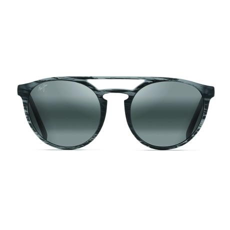 Maui Jim // Men's Ah Dang Polarized Fashion Aviator Sunglasses // Matte Gray Stripe + Gray