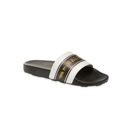 Anistern Animal Rubber Slides // White + Black + Gold (US: 8)