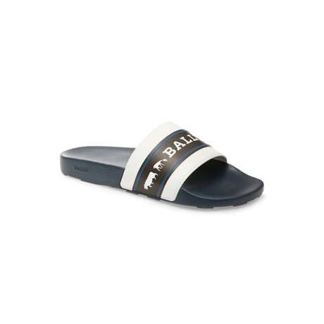 Anistern Animal Rubber Slides // White + Blue + Black (US: 8)