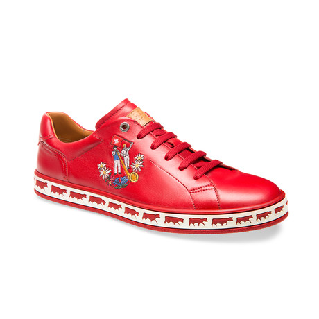 Alpistar Leather Low-Top Sneakers // Red (US: 8)