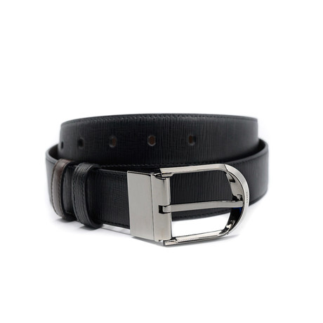 Deming Adjustable + Reversible Grained Calf Leather Belt // Black