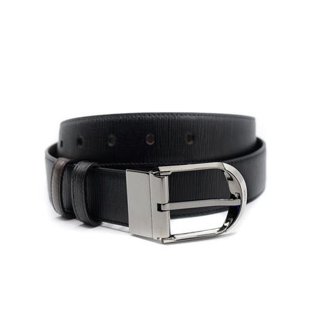 Men's Deming Adjustable + Reversible Grained Calf Leather Belt // Black