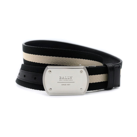 """Men's Teller Canvas Leather Adjustable Buckle Belt // Black + Beige (44""""L)"""
