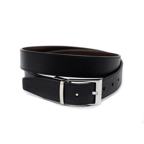 Men's Shiff Adjustable + Reversible Embossed Calf Leather Belt // Black