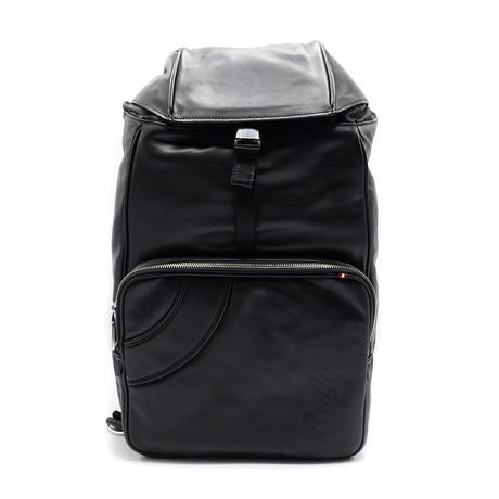 Men's Shake Calf Leather Backpack + Drawstring Closure // Black