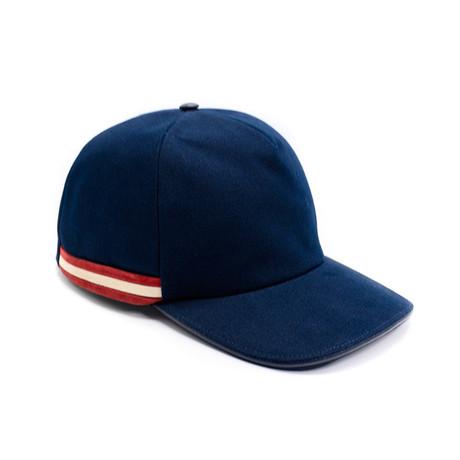 Men's Contrast Striped Baseball Cap // Navy Blue (58/M)