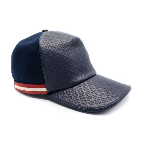 Crescent Toile Printed Leather Cap // Dark Navy (60/M)