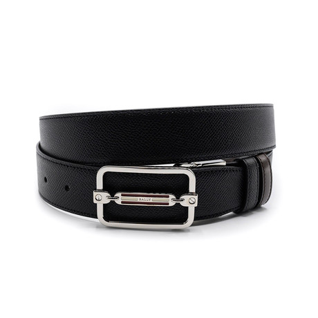 Steff Embossed Calf Leather Reversible + Adjustable Belt // Black