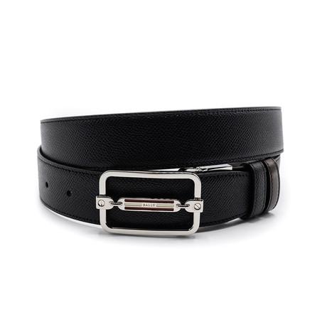 Men's Steff Embossed Calf Leather Reversible + Adjustable Belt // Black