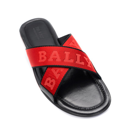 Bonks Fabric Sandals // Black + Red (US: 7)