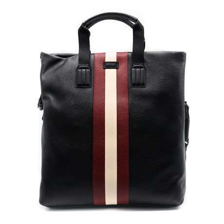 Men's Striped Grained Leather Tote Bag // Black