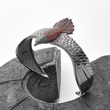 Eagle Cuff Bracelet // Black + Red (XS-S)