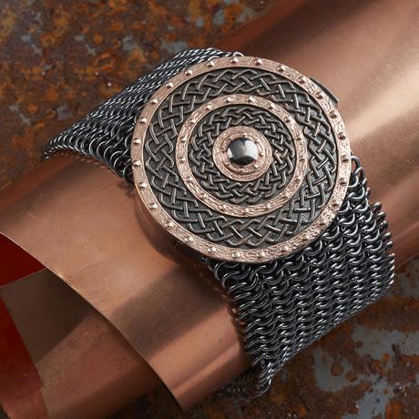 Rose Round Armor Bracelet // Black + Rose (XS-S)