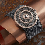 Rose Round Armor Bracelet // Black + Rose (L-XL)