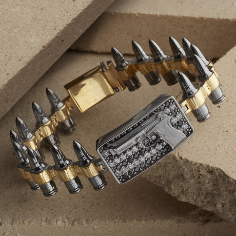 Gun-Bullet Bracelet // Black + Gold (XS-S)