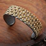 Mini Skulls Cuff Bracelet // Gold (XS-S)