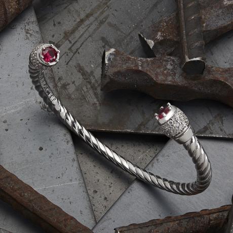 Zircon Cuff Bracelet // Silver (XS-S)
