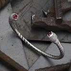 Zircon Cuff Bracelet // Silver (S-M)