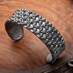 Mini Skulls Cuff Bracelet // Black (S-M)
