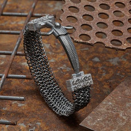 Sword Armor Bracelet // Black + Silver (XS-S)