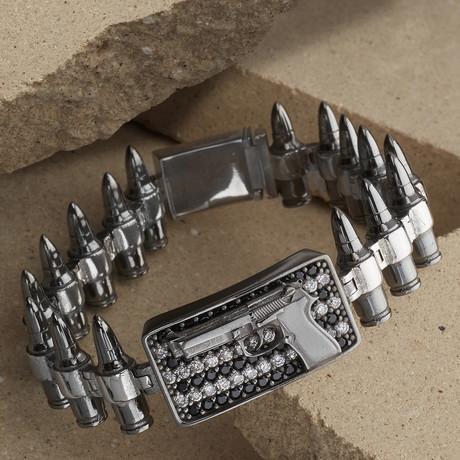 Gun-Bullet Bracelet // Black + Silver (XS-S)