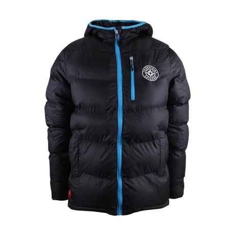 Adventure Badge Puffa Jacket // Black + Blue (S)