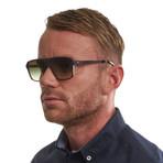 Men's Trapezium Sunglasses // Brown + Green