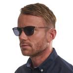 Men's Trapezium Wood Grain Sunglasses // Brown + Blue