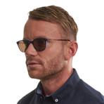 Men's Trapezium Sunglasses // Blue + Tan
