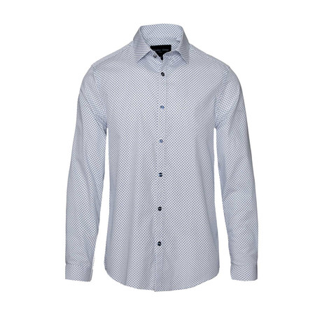 Spread Collar // White + Blue Diamond (S)