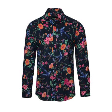 Spread Collar // Navy + Orange Floral (S)