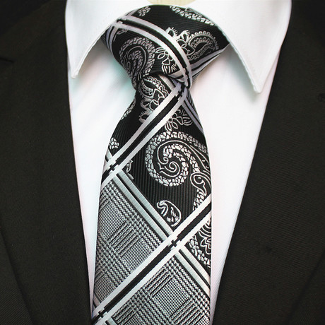Silk Neck Tie + Gift Box // Black + White Paisley
