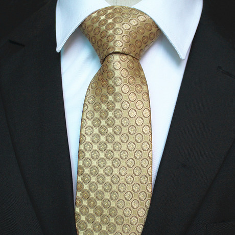 Silk Neck Tie + Gift Box // Gold Circles