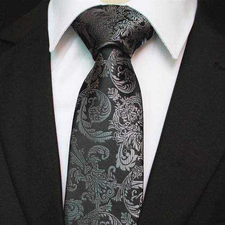 Silk Neck Tie + Gift Box // Black + Silver Floral