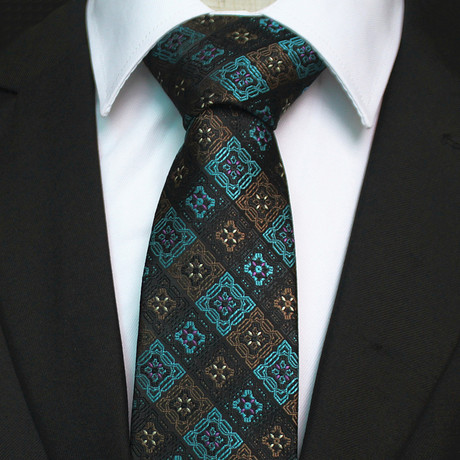 Silk Neck Tie + Gift Box // Turquoise + Brown Floral