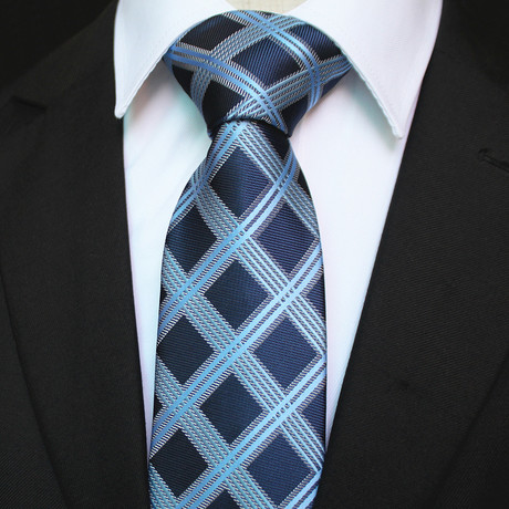 Silk Neck Tie + Gift Box // Blue Check