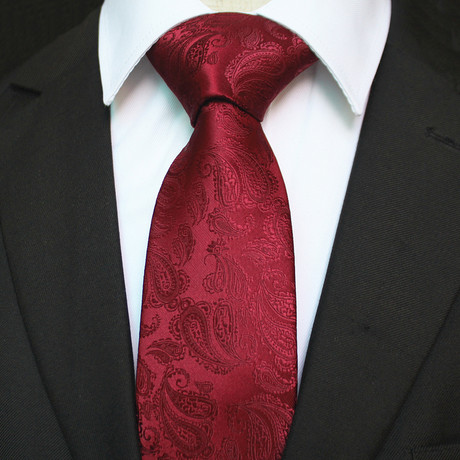 Silk Neck Tie + Gift Box // Burgundy Paisley